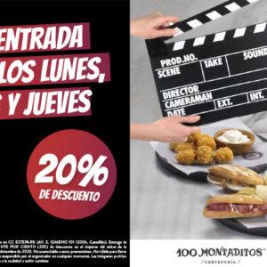¡20% de descuento en 100 Montaditos Estepark con tu entrada de cine!